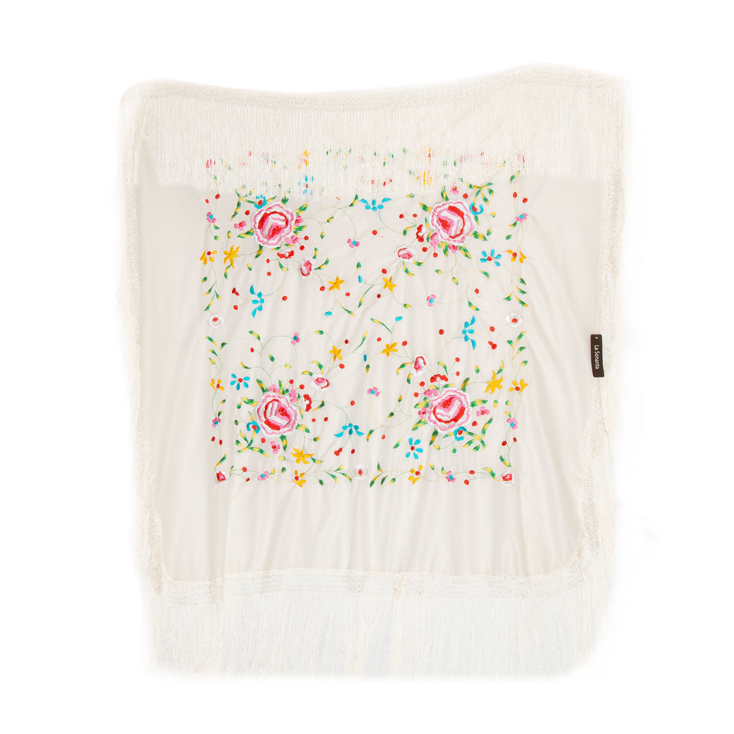 White silk shawl 120 x 120 with handmade embroideries