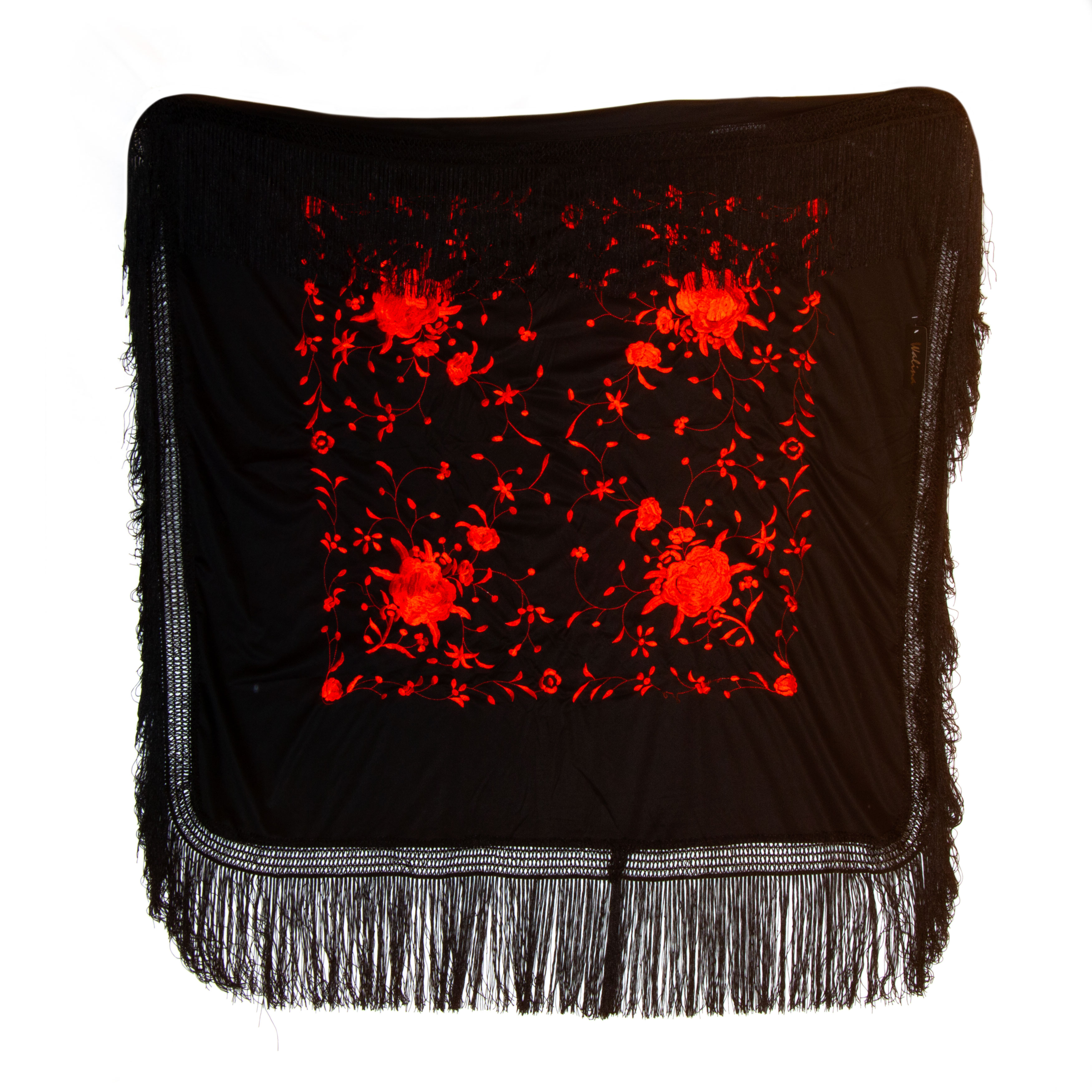 Silk shawl 120cm x 120cm black with red handmade embroideries