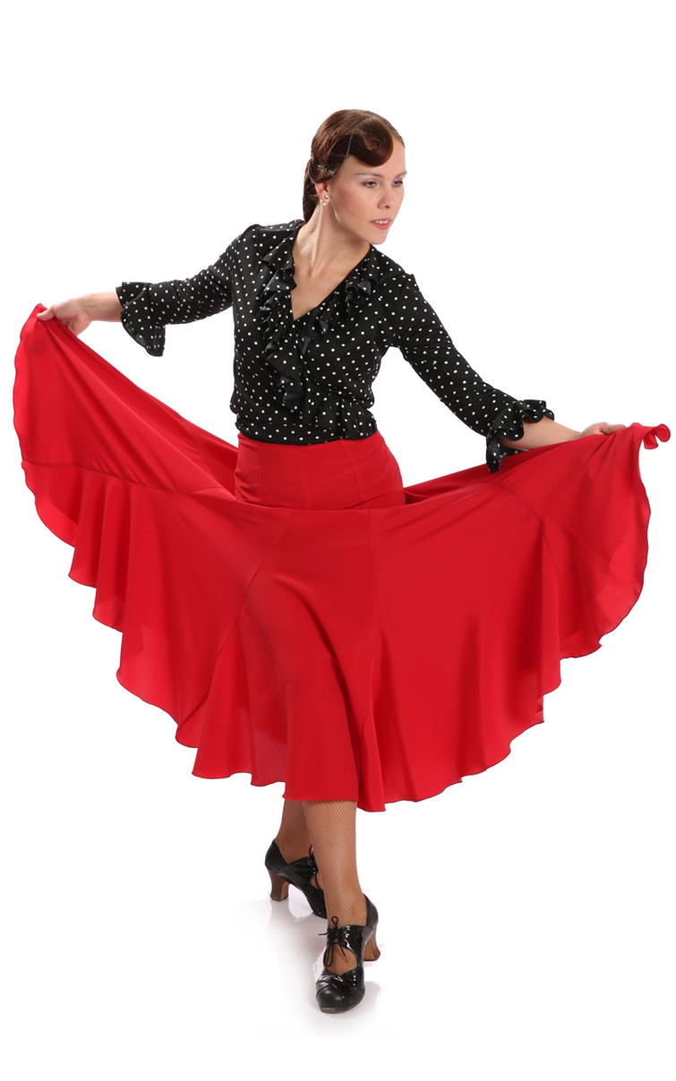 Flamenco Dance Skirt Giros Red
