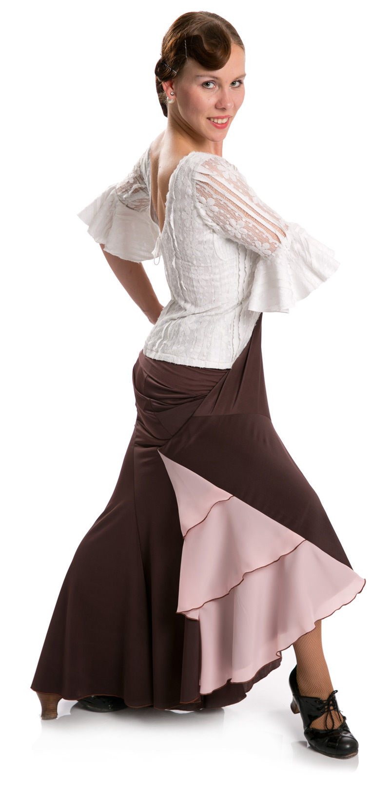 Flamenco Dance Skirt Azabache VII Brown/Pink