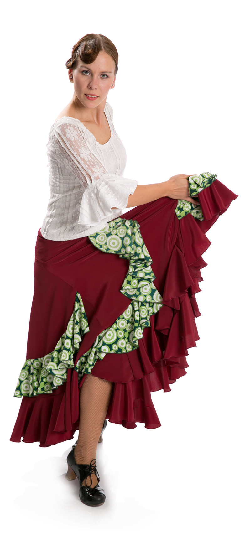 Flamenco Dance Skirt Triana FL Bordeaux/Green