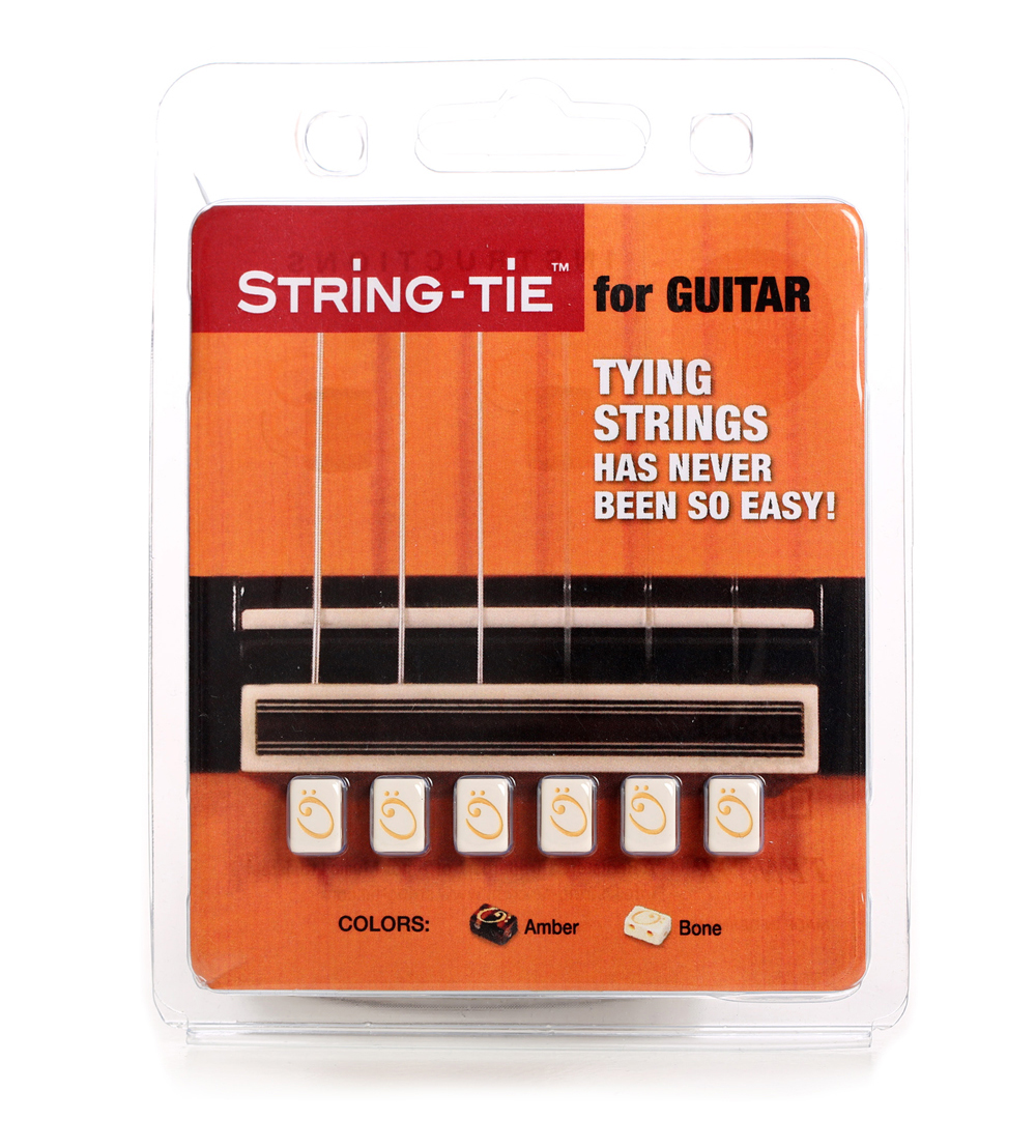 Guitar string tie pearl bone white
