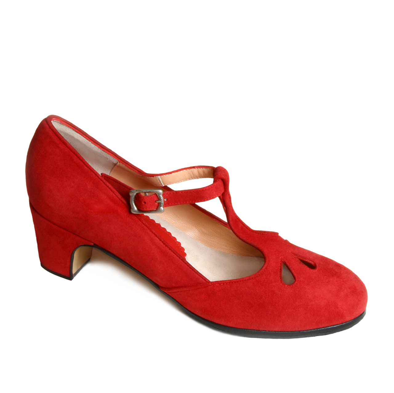 Flamenco shoe Trebol red suede