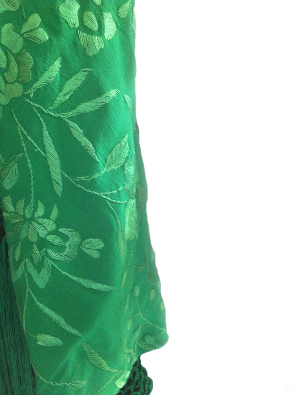 Green silk shawl green with handmade embroideries