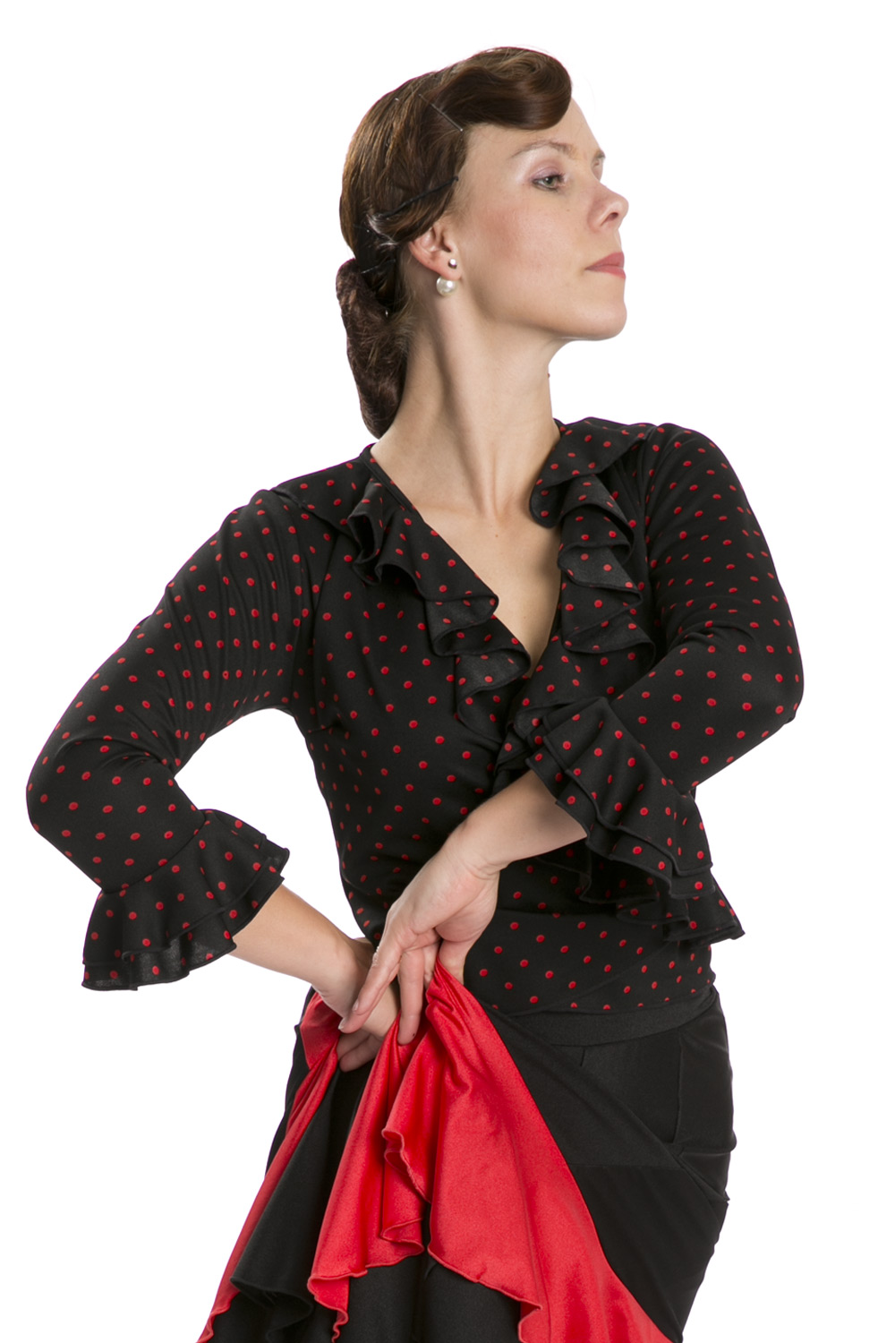 Flamenco dance top red with black dots