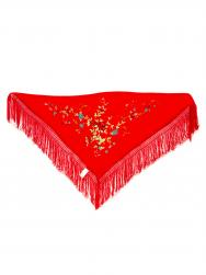 Scarf 150 x 70 red embroidered